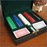 Leather POKER CHIP CASE/Leather poker set holder/Casino leather product