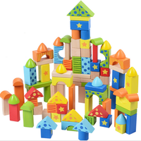 100pcs Printing educational wooden magnetic building blocks