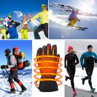 Men Women Heating Insulated Thermal Black Electric Heated Gloves For Climbing Hiking Skiing thumbnail image