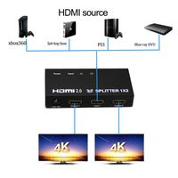 HDMI 2.0 splitter 1x2 support 4k@60Hz with HDCP2.2 pass though