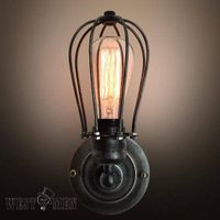 Black Bulbs Guard Wall lamp Edison light Vintage machine age 1960s