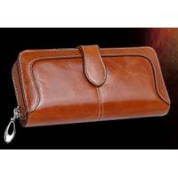 Genuine Leather Long Clutch Wallet, Women's Wallet with Zipper, China Factory