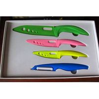 Ceramic kitchen knife set; 3'' + 4'' + 6'' Chef + peeler