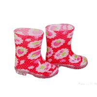 RB-1001 RED FRUIT PRINT PVC VINYL TODDLER RAIN BOOTS