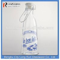LongRun beautiful personalized glass milk bottle with ceramic lid and wire handle