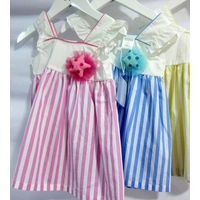 Appliqued Floral Cheap Baby Girl Clothes Spaghetti Strap Long Summer Dresses thumbnail image