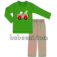 Christmas tree car applique boy outfit thumbnail image