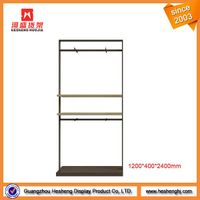 simple shop window wood flooring display rack with metal frame
