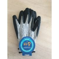 Level 3 HPPE liner with latex crinkle finished palm coating glove