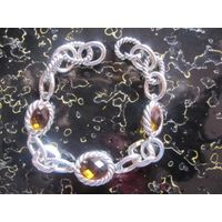 Sterling Silver Jewelry 925 Silver Chain Bracelet with Citrine (B-074) thumbnail image