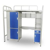 Endurable dormitory bed with desk and wardrobe