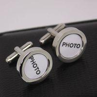 stainless steel photo cufflink