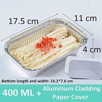 400 ML Aluminum Pans with Aluminum Cladding Paper Cover, Rectangular Aluminum Foil Grill Pans