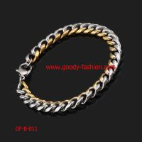 gold and silver stainless steel bracelt for men's jewelry