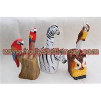 100% pure handy carved wooden animal holder for pen