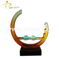 Colorful Round Clear Epoxy Resin Abstract Modern Art Sculpture thumbnail image