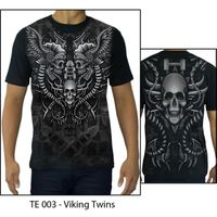 High Quality Printed Cotton T-shirt - TATTOO VIKING TWINS