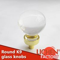 China LICHEN brand gold chrome aluminium alloy base crystal handle new style furniture glass knobs