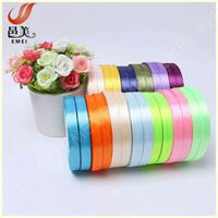 wholsale colorful 100% polyester single face 10mm satin ribbon