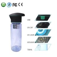 750ml Multi-Functional water purifier UV sterilization  outdoor sport bottle for gift