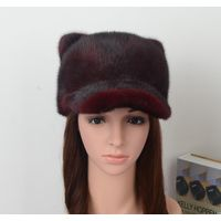 Fashion Style Fuchsia Mink Fur Hat for lady