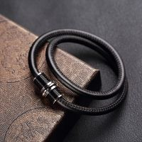 Fashion Jewelry Men Bracelets Double Layer Genuine Leather Stainless Steel Bracelets & Bangles