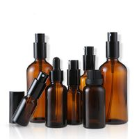 full set amber essential oil bottle with spray pump