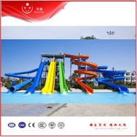 3 Lanes Custom Water Park Slides , Aqua Park Wavy Speed Slide