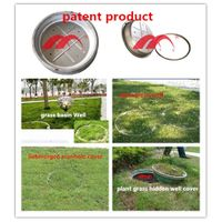 sinking type well ocver lawn green plant grass hidden well cover