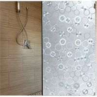 Decorative Window Films for Privacy 17.7 by 78.7 Inch No-glue Static Frosted Stained Glass Window