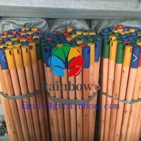 Smooth Surface varnished wooden broom handles painted wooden broom stick thumbnail image
