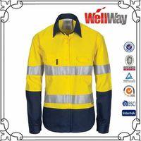 Yellow navy hi vis reflective work shirts