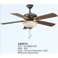 Wood blade ceiling fan light