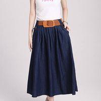 Casual wear cheap fashion jeans pattern slim fit long skirt ladies thumbnail image