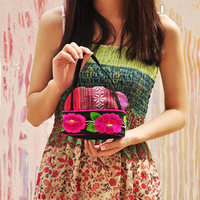 fashion embroidery small handle cosmetics makeup bag key holder wallet