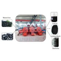 Waste tire recycling machine with continuous fully