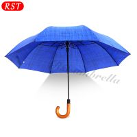 Happy Swan personalized design auto open windproof wooden bent handle 2 fold umbrella