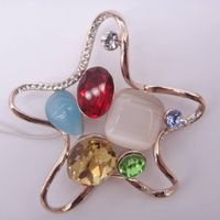 star with colorful crystal and catseye brooch newest fashion jewelry in alloy