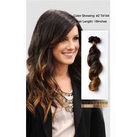 Hot sale virgin unprocessed ombre color wholesale cheap ombre hair extension clip in