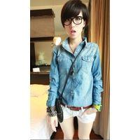 Hot Sale Lapel Jeans Tops,Cheap Womens Clothing Blue thumbnail image