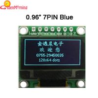 "0.96"" OLED display module with PCB, 128 x 64p resolution, blue characters in black background"