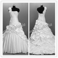 one strap white taffeta hand ruched wedding dre