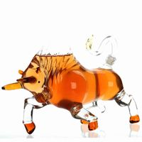 Custom cow shape glass wine bottle decanter