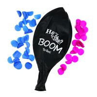 Boomwow 36inch Latex Printed He or She Gender Reveal Black Balloon