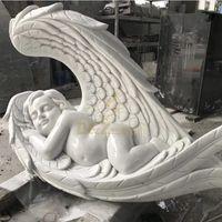 Open Wings Serene Baby Angel White Headstones thumbnail image