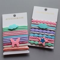 Beauty girl butterfly elastic hair bands kids hair ties with stars