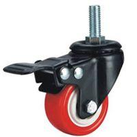 Light medium duty PU caster threaded stem with brake