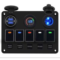Multifunction 5 Gang Marine Rocker Switch Panel With QC3.0 Fast Car Charger Digital Voltmeter and Ci thumbnail image