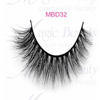 Cruelty-free 3d mink fur lashes with black and clear bands MBD32