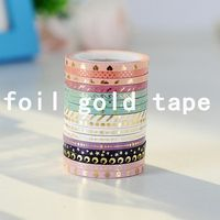 DIY crafts and kids gift custom colorful gold foil cartoon washi tape